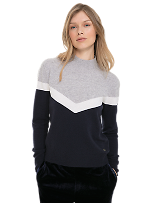 3D Knit Cashmere-Blend Colour-Block Sweater