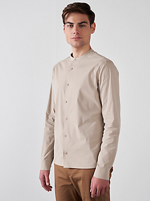 Stand-Up Collar Cotton-Stretch Shirt